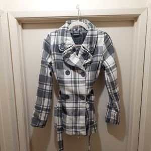 Grey and White Belted Plaid Peacoat